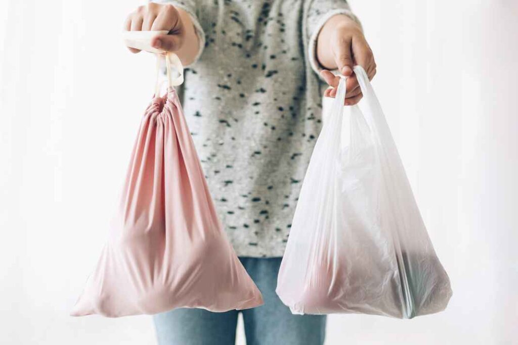 Woman with outstretched arms holding a single use plastic bag in right hand and reusable cloth bag in left hand.