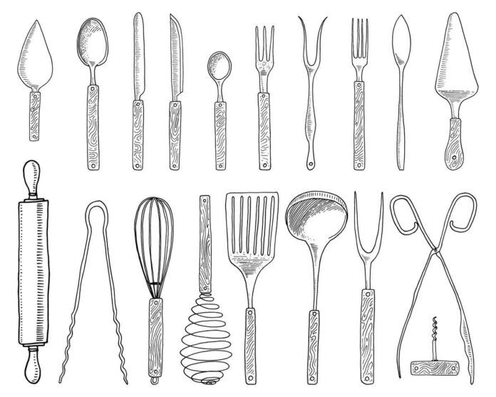 Sketch-style illustration of kitchen utensils like spoons, knives, forks, tongs, whisks, pie servers and rolling pins on white background.