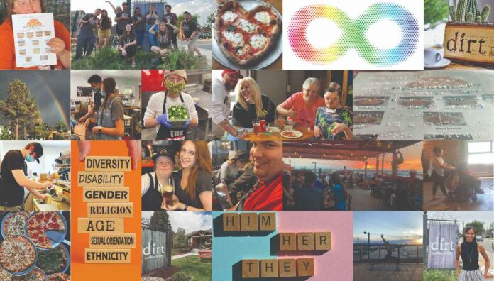 Collage of photos of pizza, restaurant signs, braille menus, people using wheelchairs, restaurant employees an guests, and restaurant patios.