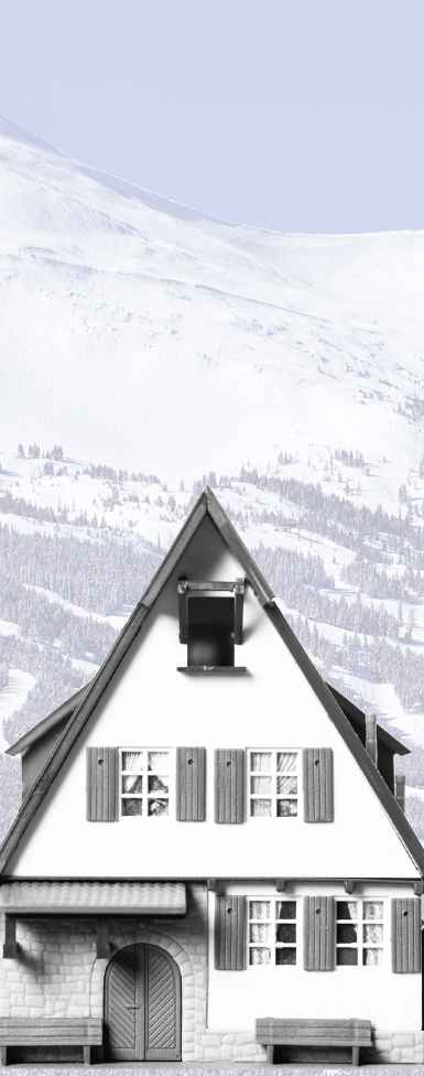 Black and white image of a plastic toy dollhouse modeled after an alpine chalet against a mountain backdrop.