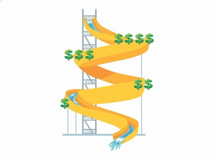 Illustration of twisty water park water side with dollar decreasing number of dollar signs at each curve.
