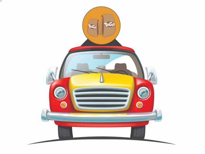 Illustration of head-on view of grill and and windshield of yellow and red car with a sign on top advertising to-go food.