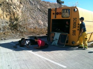 An overturned school bus caused by terrorists was one of the 12 scenarios
