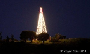 From our 2011 files, our Christmas Tree lighting on Sign Hill is seen far and wide!