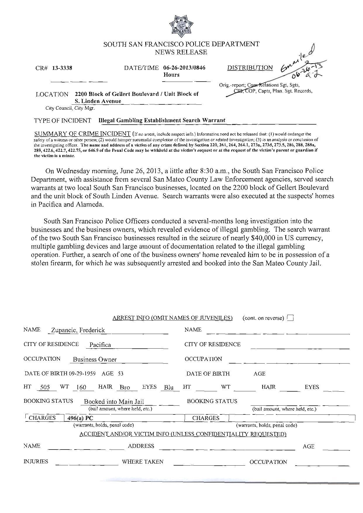 SSFPD 6.26.2013 Illegal Gambling