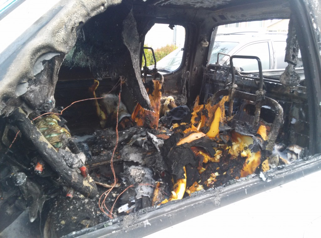 Truck fire today in Baden parking lot. Photo: Misha SillyDino Misha