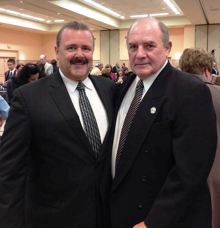 Re-elected Councilmember Mark Addiego with Jim Tucker, Commission on the San Mateo County Harbor District.  Photo: ESC