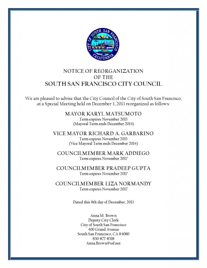 city council- reorganization dec 3, 2013