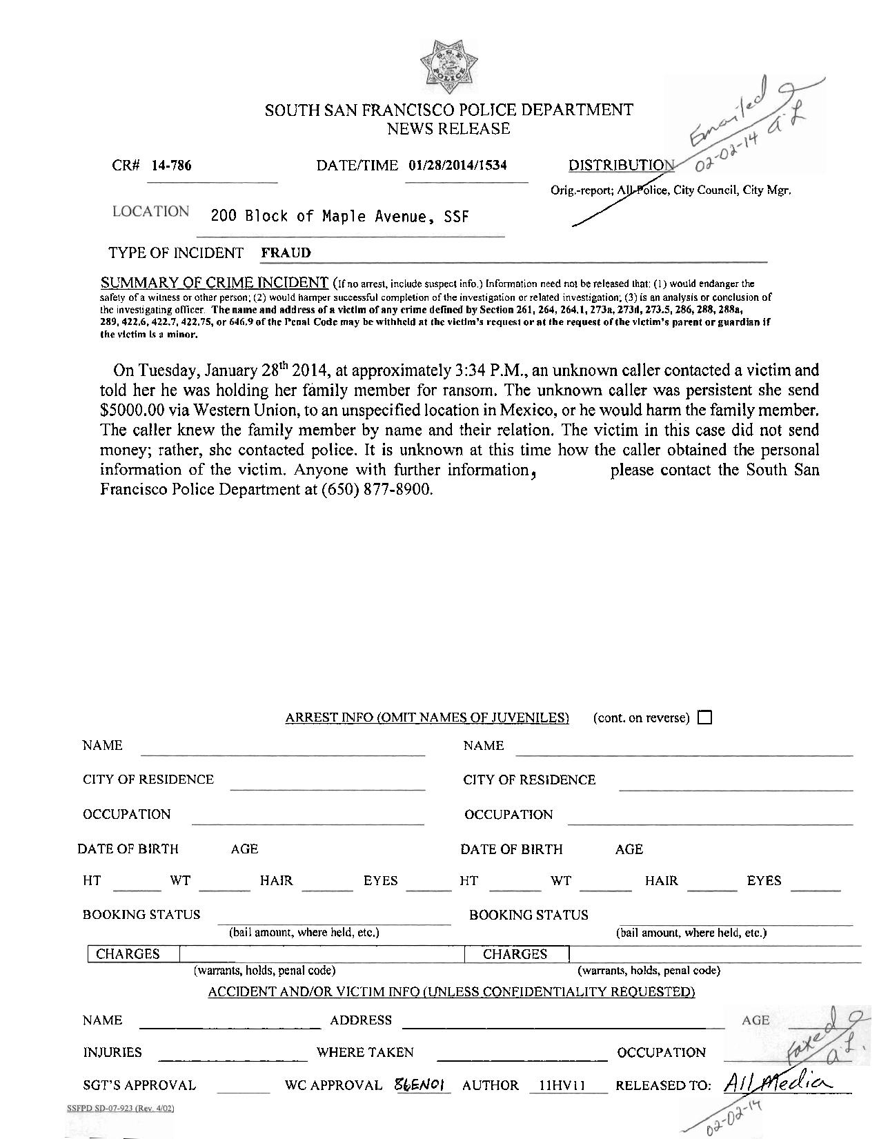 Ssfpd Media Release Fraud Threat Of Ransom Everything South City