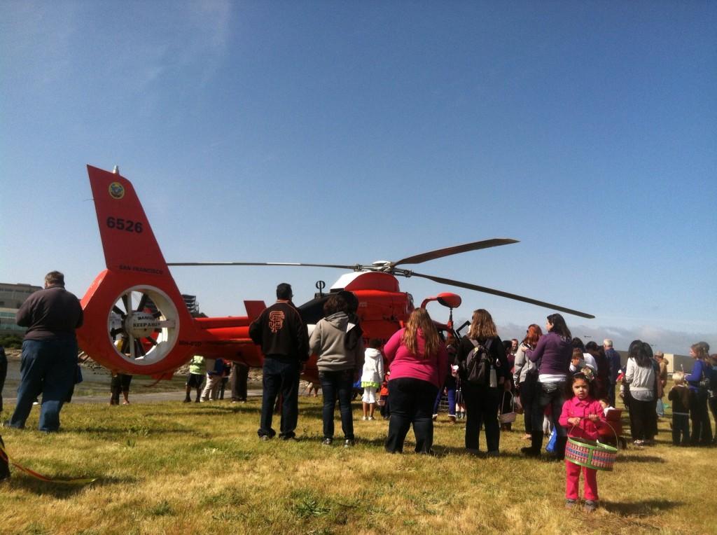 Waiting to tour the US Coast Guard Heli Photo: Ruth Vasquez