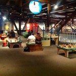 The huge play area for kids centers around interactive train activities & resting spots for parents Photo ESC