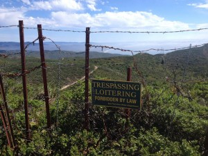 No Trespassing sings greet visitors to Whiting Ridge although this is public land