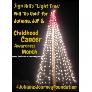 Sign Hill Tree in honor of Childhood Cancer Month