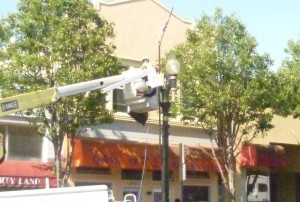 The 84 lampposts in the downtown district will now have better lighting due to the change from High Pressure Sodium (HPS) lamps to Inductance lamps Photo: ESC