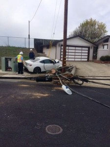 Phone & PGE lines were brought down in this accident Photo: SSFPD