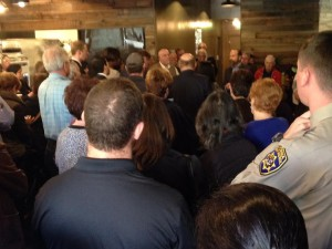 Standing room only at Antiqua Cafe as Senator Jerry Hill recognized Bertina Marcelo