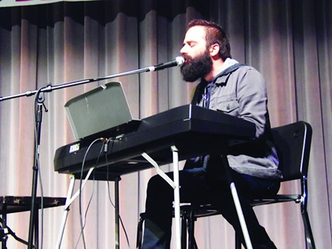 Musician Sebu Simonian appeared at El Camino High School in South San Francisco on Tuesday.  Photo courtesy Brendan Bartholomew, SF Examiner