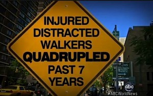 injured distracted drivers street sign