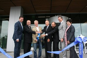 The ribbon cutting for Genentech's building 7