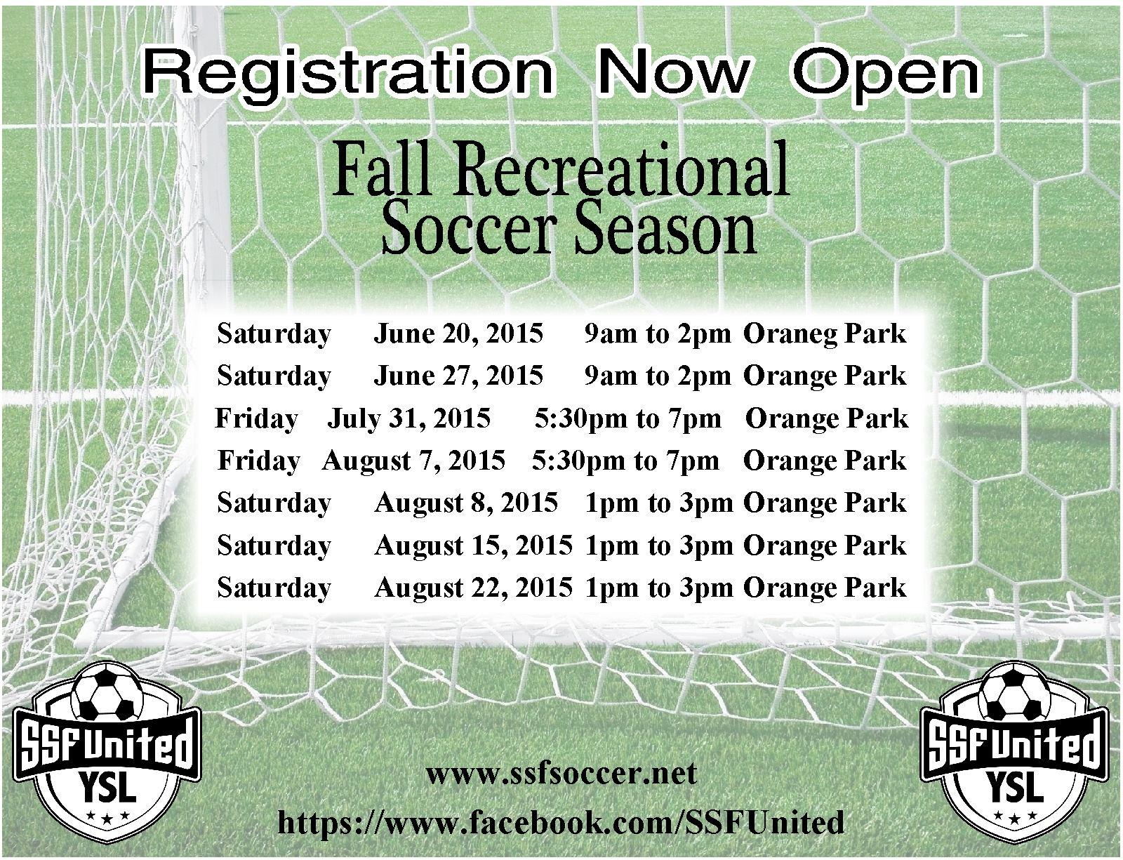 2015 fall Soccer sign ups