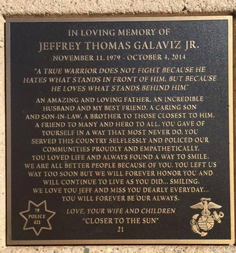 A Memorial Bench dedicated to Jeff Galaviz sits at Pillar Point in Half Moon Bay with this inscription.