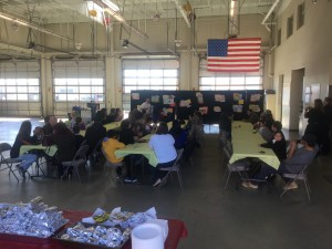 Students winning the Poster Contest enjoyed a BBQ at the Fire Statio with their families