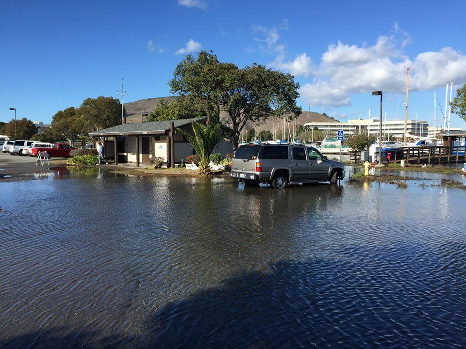Tenant Restroom & Parking Area King Tide flooding at Oyster Point Marina—Wed., Nov. 25, 2015 Photo: S Brennan