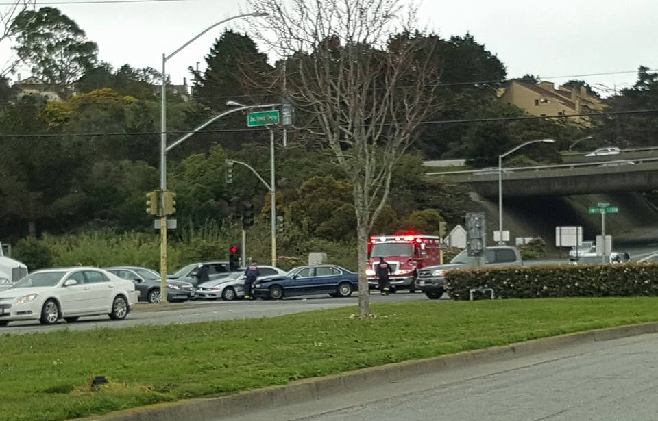 Accident affecting Junipero blvd and Eastbound Westborough blvd. Multiple cars involved serious crash, avoid the area. Someone likely ran the light again judging by the way cars are knocked sideways. ' - William Shon