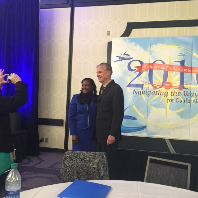 South San Francisco Unified School District Superintendent Dr. Shawnterra Moore and State Superintendent of Public Instruction Tom Torlakson at the 2016 Title I Conference a few minutes before Dr. Moore's Keynote Speech.
