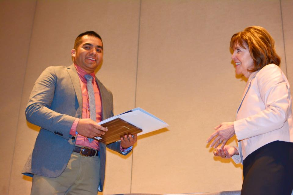 """Victor Caicero, owner of Antigua Cafe received the """"Emerging Business of the Year"""" award from SSF Chamber"""