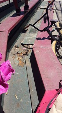 Broken bleachers at OMP received a quick patch work by city staff. Photo: Jocelyn Jovian