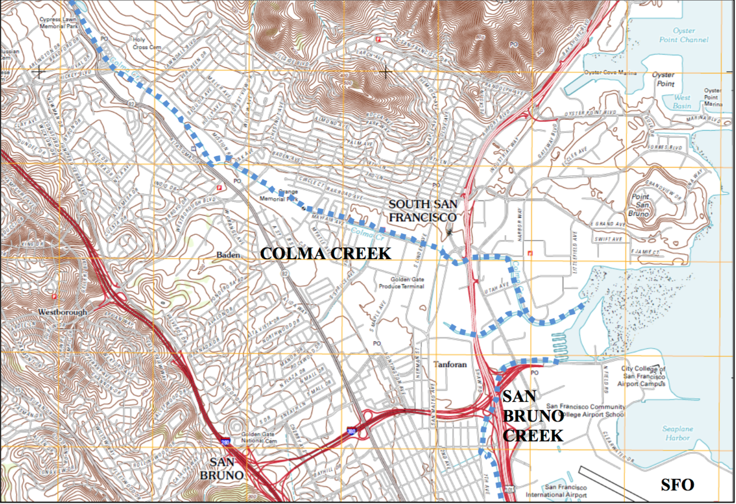 Colma Creek is outlined in BLUE.  Map prepared for SFO by Moffatt & Nichol and AGS