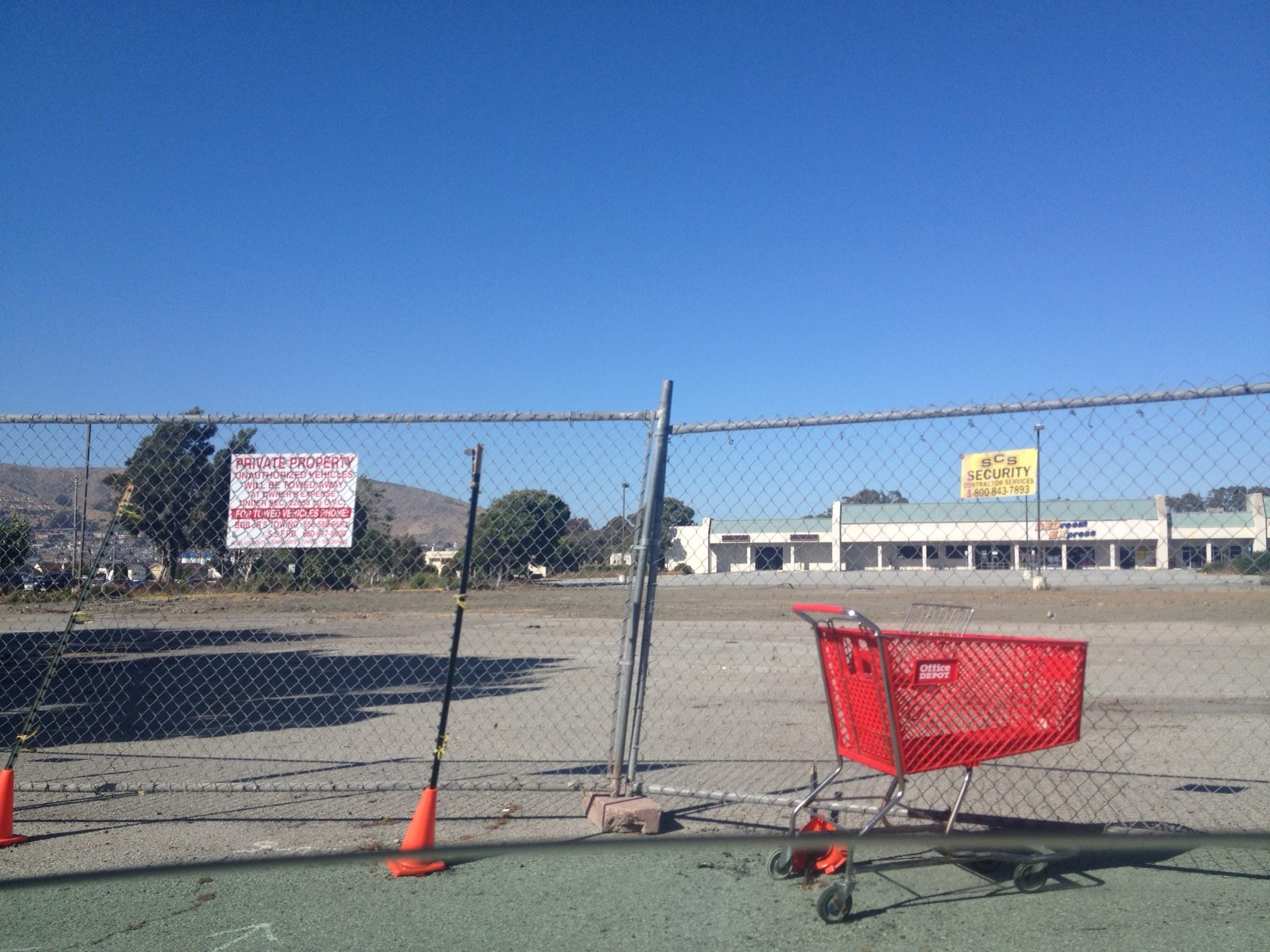 The bulldozers are gone after the demo of the Firestone bldg.