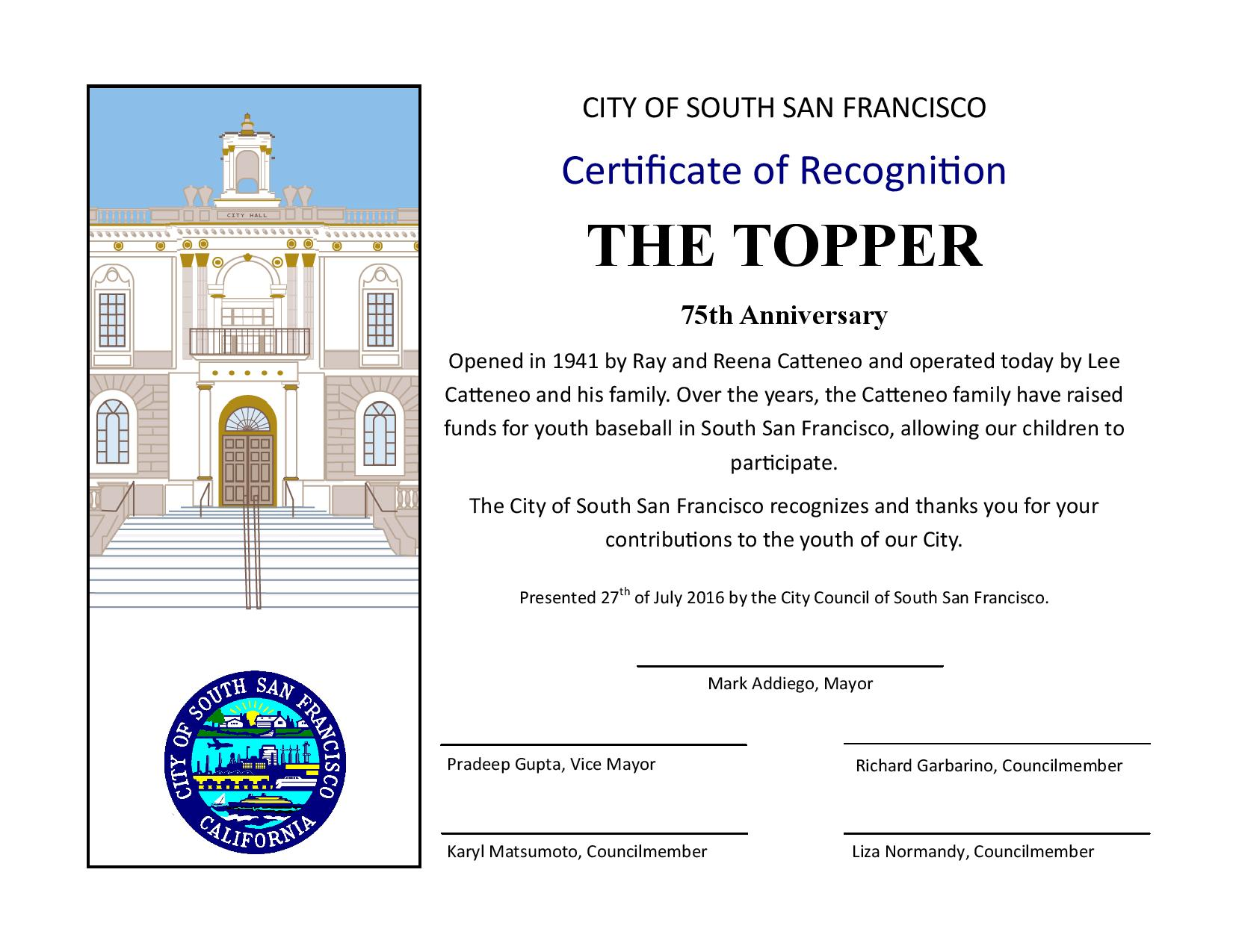 The TOPPER is located at 240 Grand Avenue