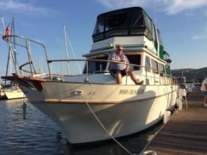 Scot Grindy and his wife Anne, reside on 54' recreational trawler at Oyster Point, marking this off their bucket list
