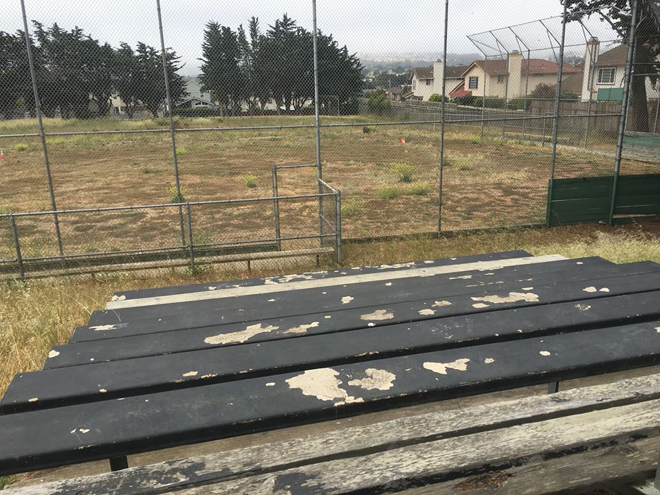Bleachers in need of paint & repair sit empty at Parkway Heights Middle School