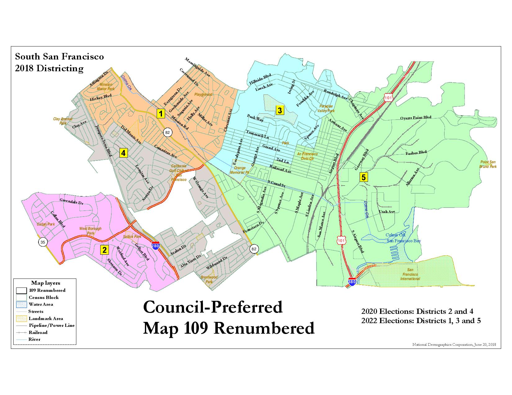 South San Francisco Map South San Francisco Election District Map Approved by City Council