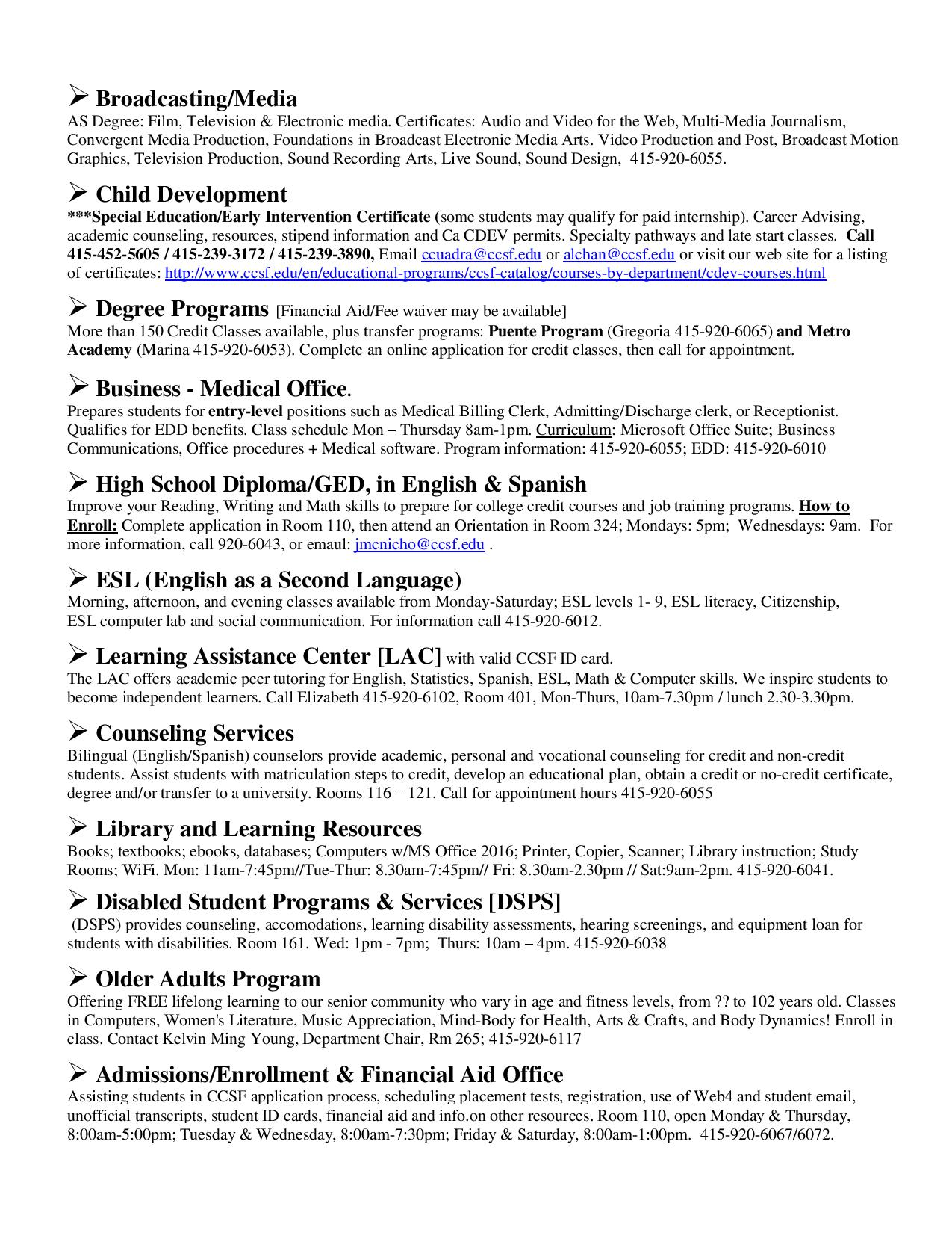 San Francisco City College Spring Class Information Everything South City