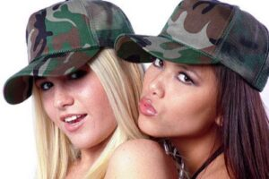 blonde-and-brunette-headshot-in-camophage-caps