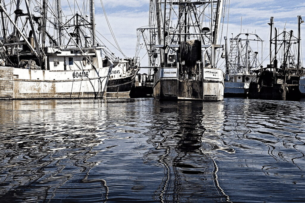 The Addiction makes berth in Swan Quarter, North Carolina. Swan Quarter is a small fishing village on Pamlico Sound.