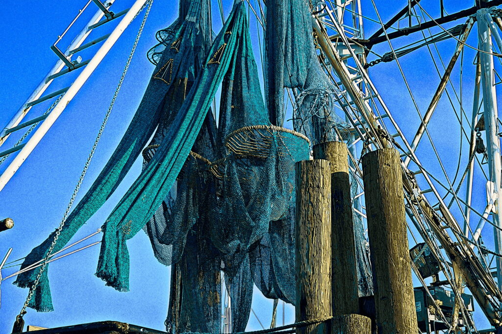 Nets hung to dry in the rigging of the Master Joseph of Rayboro, NC.