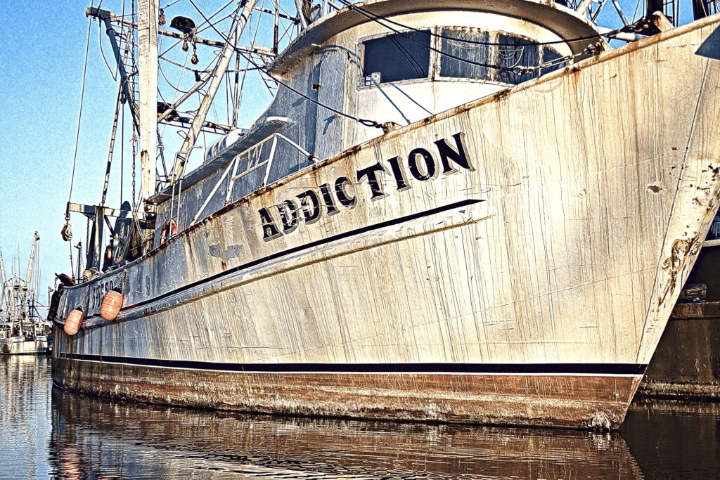 Commercial fishing boats in North Carolina often have threatening names, names like Addiction, Predator, and Night Stalker.