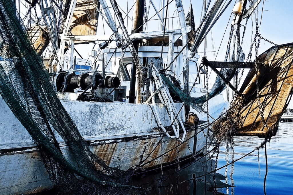 An otter trawler in the low-rent district of Beaufort Harbor.