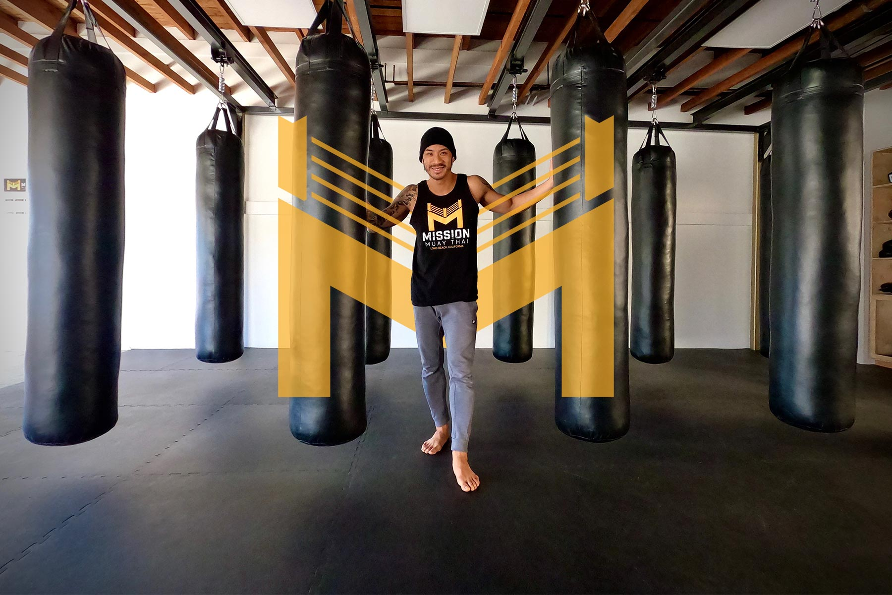 Mission Muay Thai gym with heavy bags