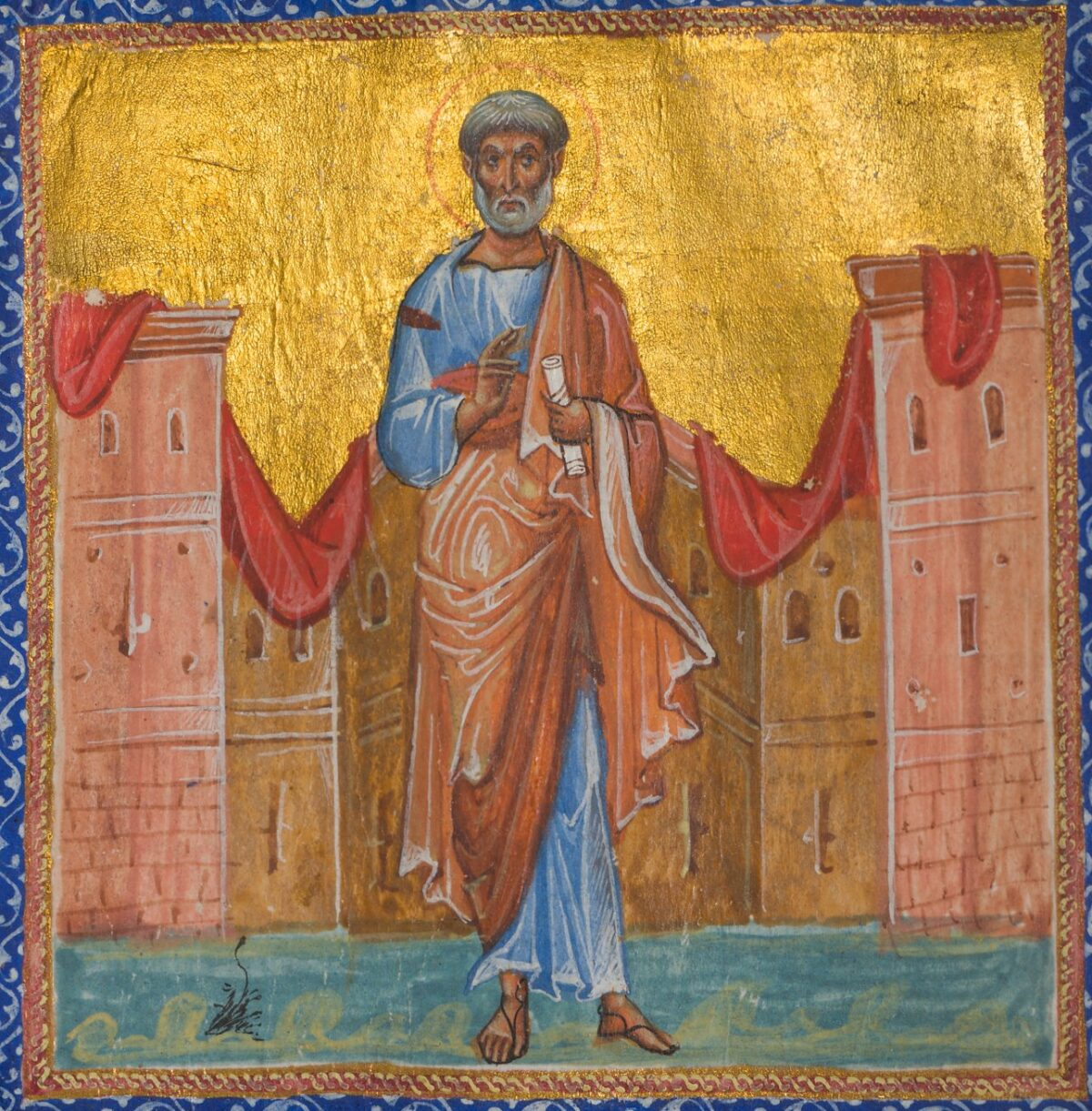 Art from a Greek Psalter and New Testament- the decoration of this leaf is dominated by a half-page miniature representing the Apostle Peter.