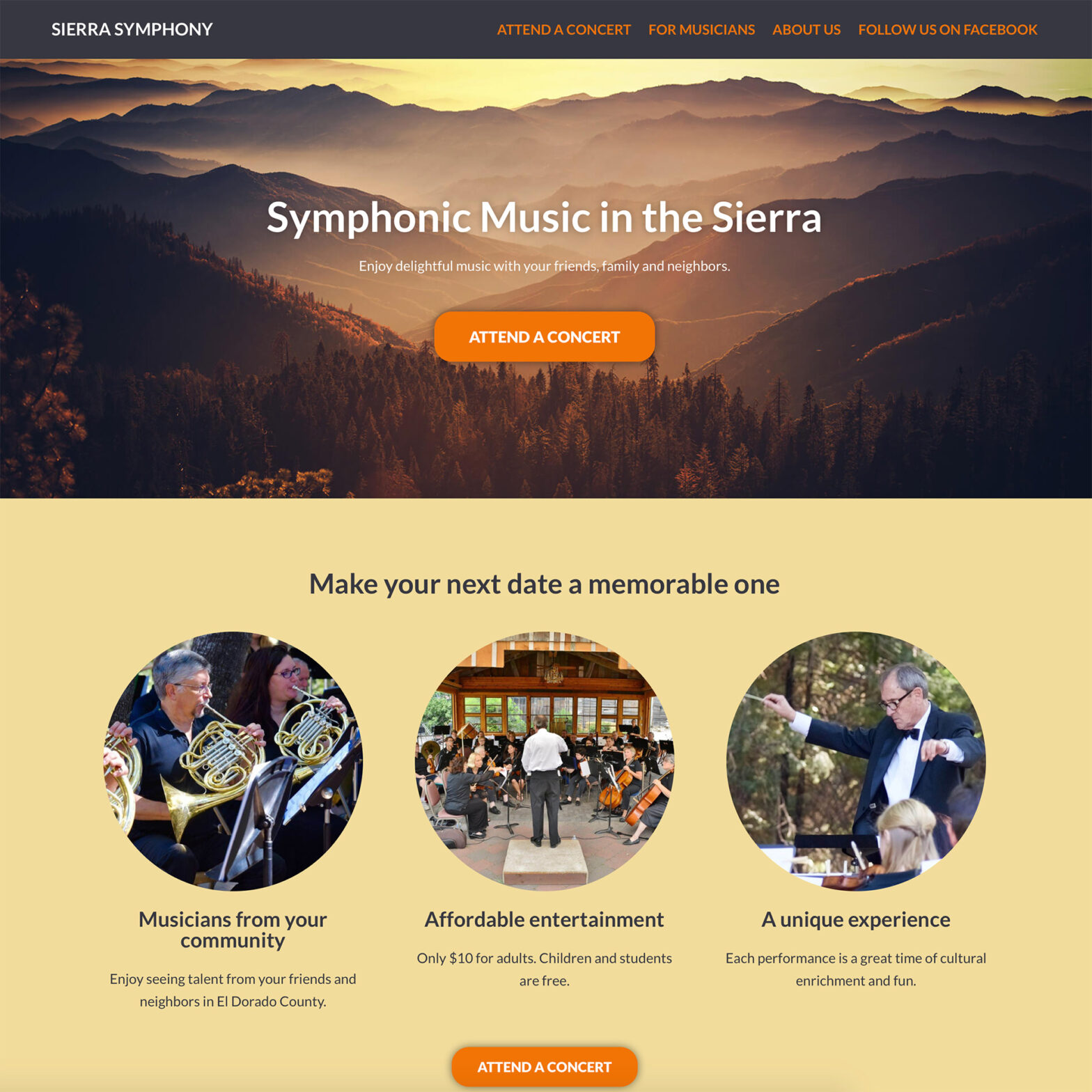 Screenshot of SierraSymphony.org