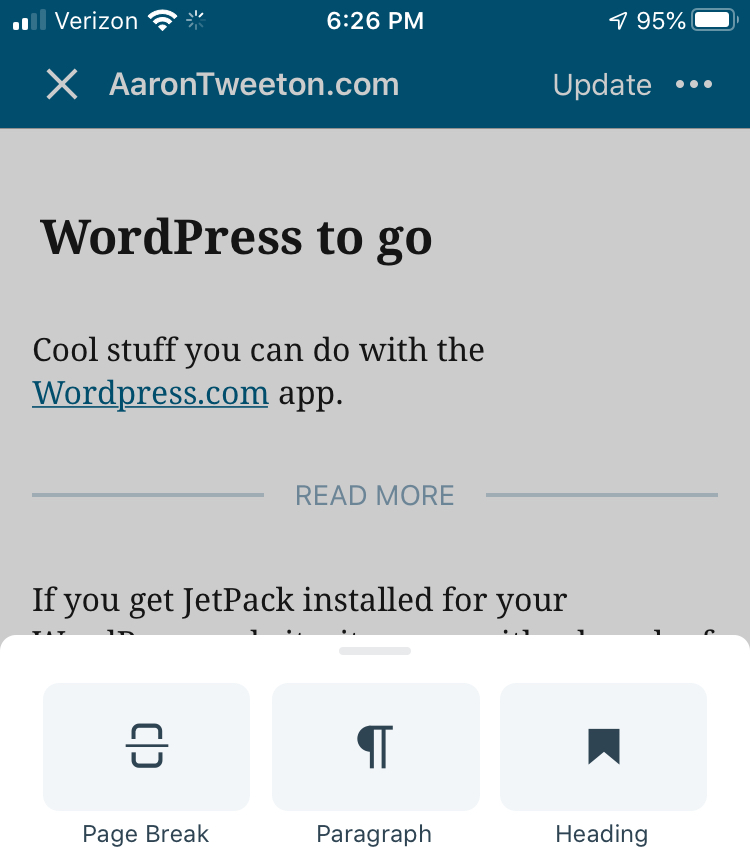 Screenshot of the WordPress.com app