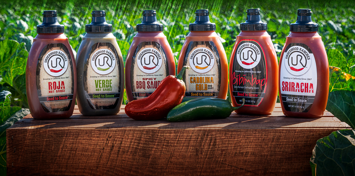 underwood ranches, roja hot sauce, verde hot sauce, spicy bbq sauce, carolina gold sauce, bibimbap, sriracha