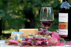 grapes, cheeses, and wine glass