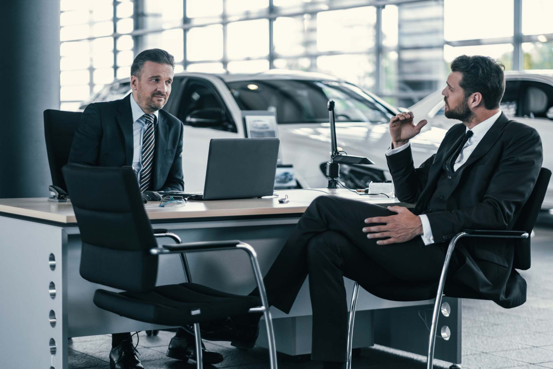Sales managers discussion with customer